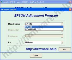 Epson XP-540, XP-640, XP-645 Adjustment Program
