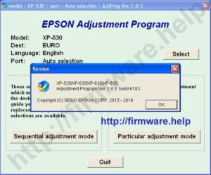 Epson XP530, XP630, XP635, XP830 Adjustment Program
