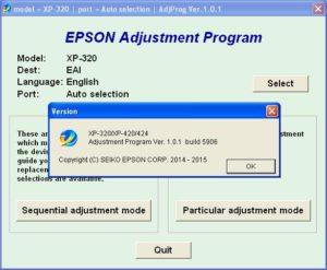 Epson XP320, XP420, XP424 Adjustment Program