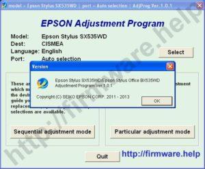 Epson SX535WD, BX535WD Adjustment Program