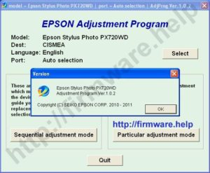 Epson PX730WD Adjustment Program